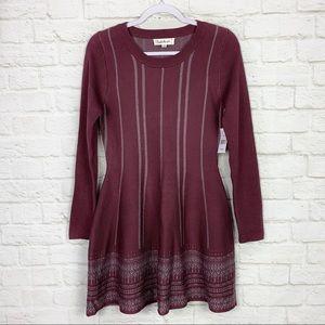 Cloudchaser Knit Maroon Crew Long Sleeve Dress NWT